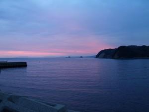 瀬戸内海の日の出(11月5日か6日6時半頃)